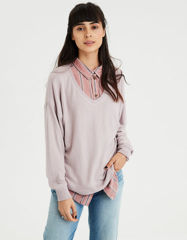 AE Plush Long Sleeve V-Neck Top in Lavender