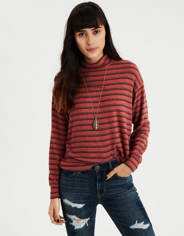 AE Plush Striped Mock Neck Top in Rust