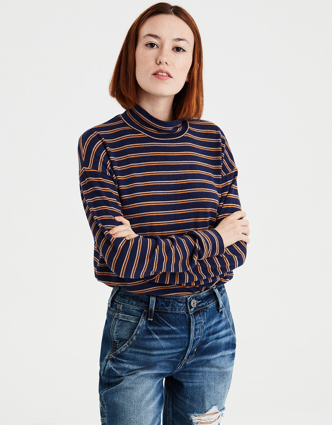 63f154ddc7 American Eagle | AE Plush Striped Mock Neck Top in Navy | American ...