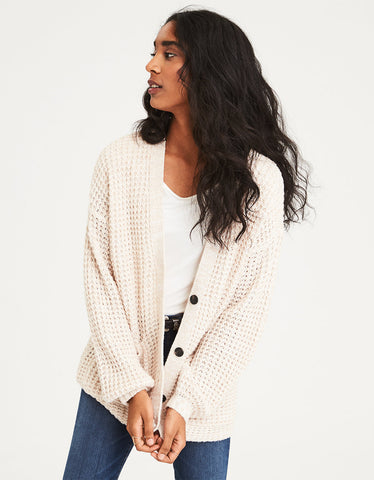AE Slouchy Waffle Cardigan Sweater in Oatmeal