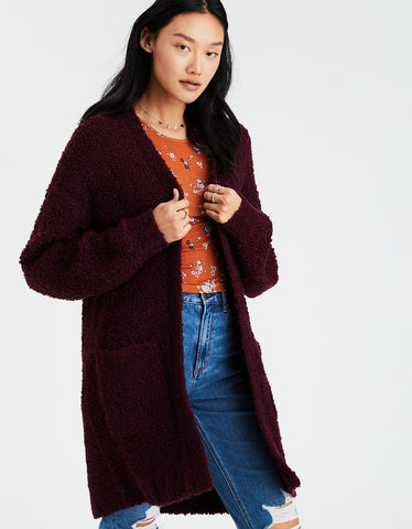 AE Boucle Boyfriend Cardigan in Burgundy
