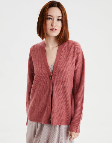 AE Soft Slouchy Button Cardigan in Blush
