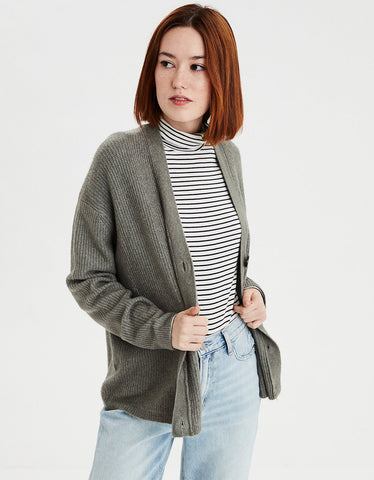 AE Soft Slouchy Button Cardigan in Olive
