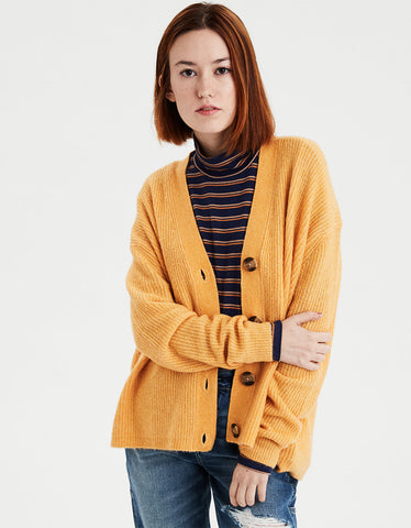 AE Soft Slouchy Button Cardigan in Yellow