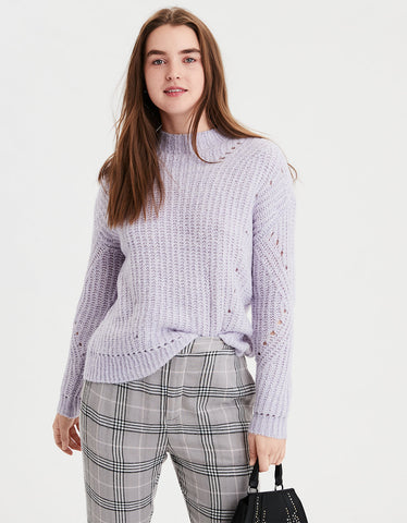 AE Mock Neck Pullover Sweater in Lively Lilac