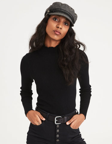 AE Ribbed Mock Neck Sweater in True Black