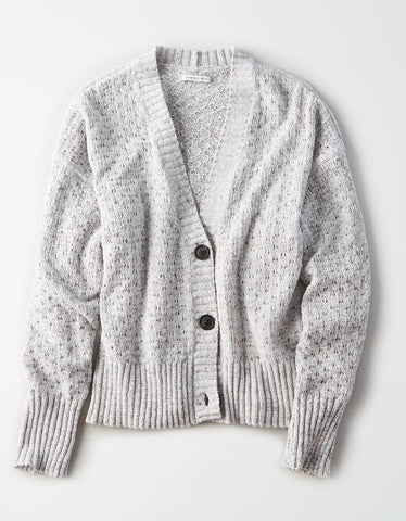 AE Crop Chenille Textured Cardigan in Gray