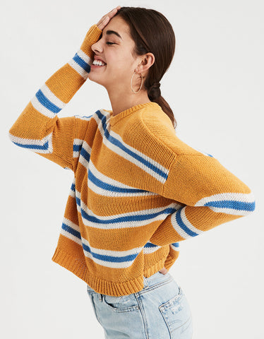 AE Slouchy Striped Pullover Sweater in Yellow