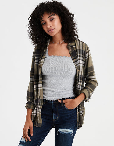AE Ahhmazingly Soft Plaid Boyfriend Shirt in Green