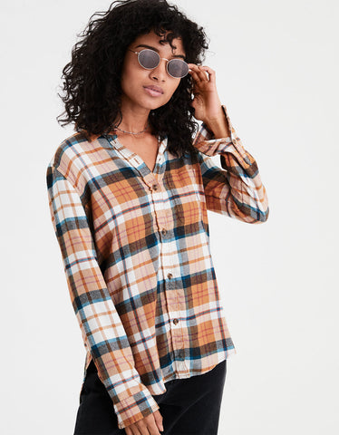 AE Ahhmazingly Soft Plaid Boyfriend Shirt in Orange