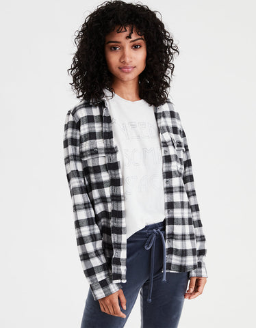 AE Ahhmazingly Soft Flannel Shirt Jacket in Black