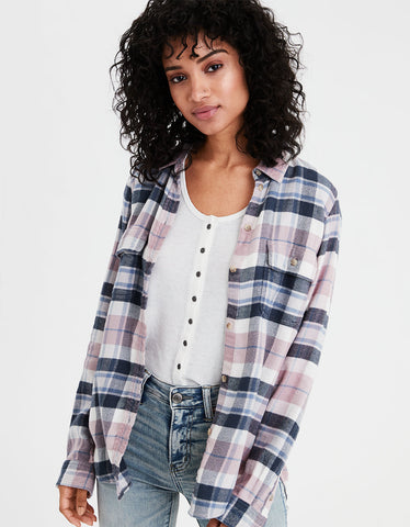 AE Ahhmazingly Soft Flannel Shirt Jacket in Pink
