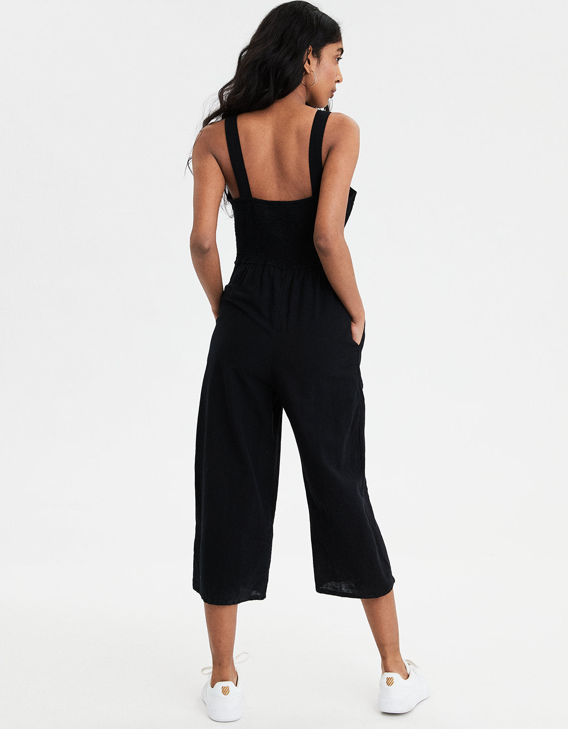 69a3443a7fa AE Button Front Culotte Jumpsuit in Black