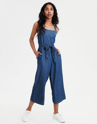 AE Denim Culotte Jumpsuit in Dark Blue