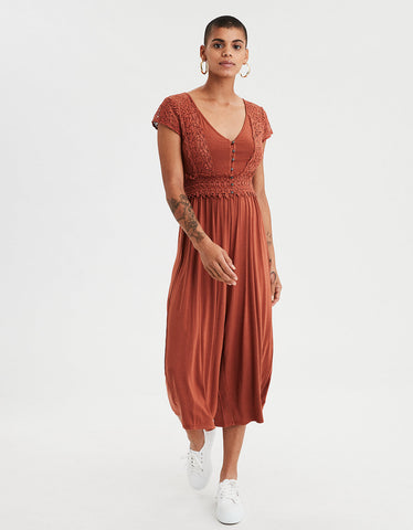 AE Knit Lace Culotte Jumpsuit in Sienna