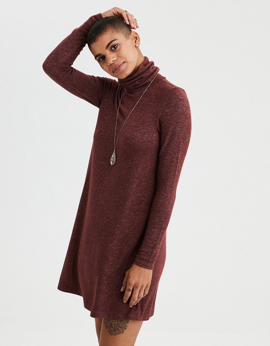 4183873095ac AE Long Sleeve Turtle Neck Swing Dress in Burgundy