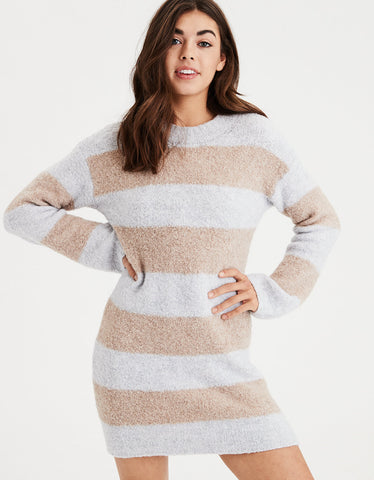 AE Rugby Stripe Sweater Dress in Gray