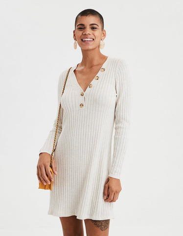 89da8dfcf12 American Eagle. AE Ribbed Henley Sweater Dress ...