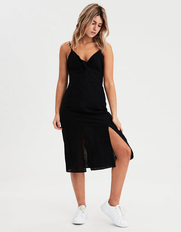 AE Tie Front Midi Dress in Black