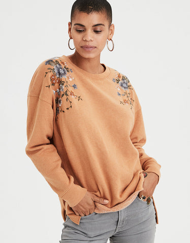AE Ahh-mazingly Soft Oversized Embroidered Crew in Mustard