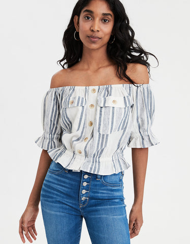 AE Patch Pocket Off-The-Shoulder Top in Blue