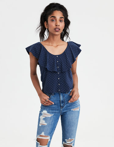 AE Overlay Button-Down Blouse in Navy