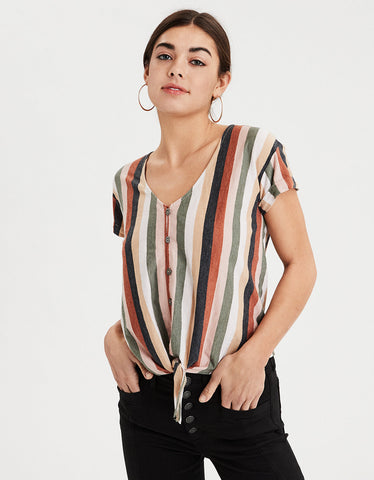 AE Tie Front Button Up T-Shirt in Multi