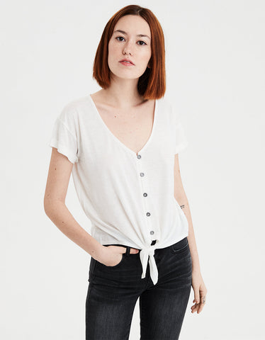 AE Tie Front Button Up T-Shirt in Natural White