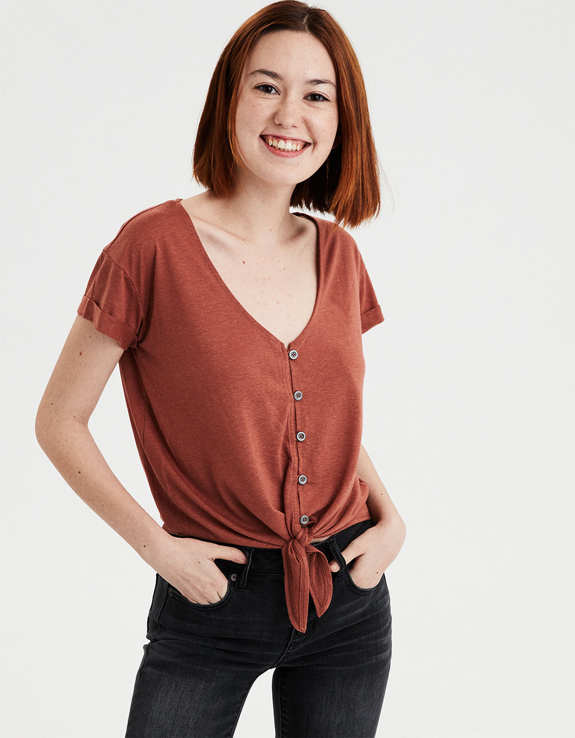 3240a185f74 AE Tie Front Button Up T-Shirt in Rust