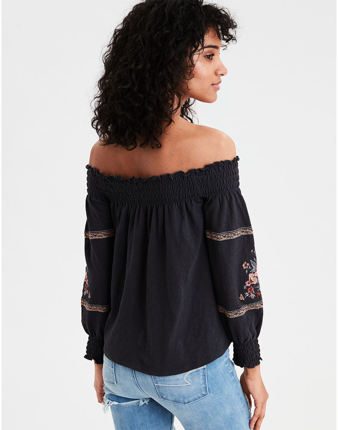 d2ba7e84 American Eagle   AE Smocked Off-the-Shoulder Top in Black   American ...