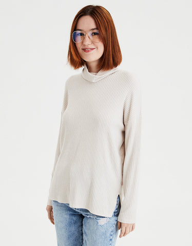 AE Slouchy Plush Turtleneck in Tan