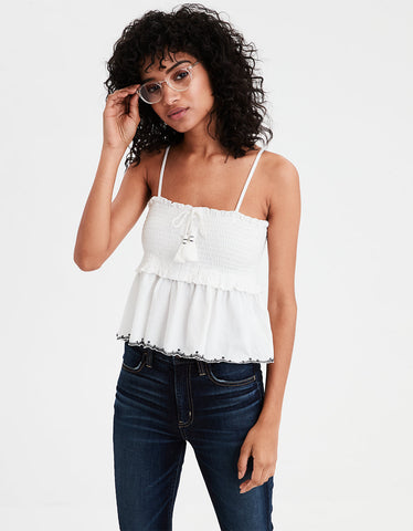 AE Smocked Lace Up Babydoll Top in Cream
