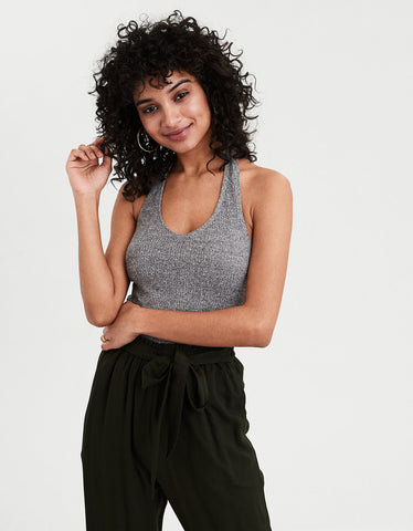 AE Ribbed Halter Top in Gray
