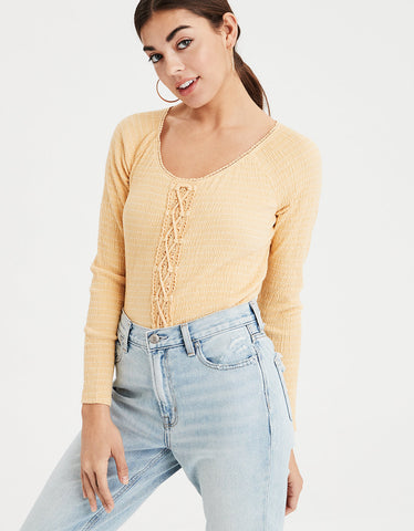 AE Long Sleeve Lace Up Top in Yellow