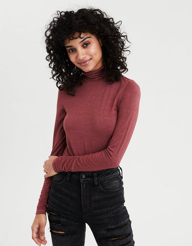 AE Long Sleeve Mock Neck T-Shirt in Brick Red