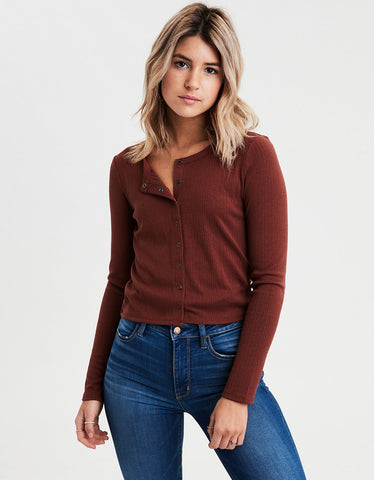 AE Long Sleeve Snap Front Henley T-Shirt in Brown