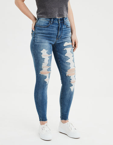 AE Ne(X)t Level Super High-Waisted Jegging  in Destroy Blue