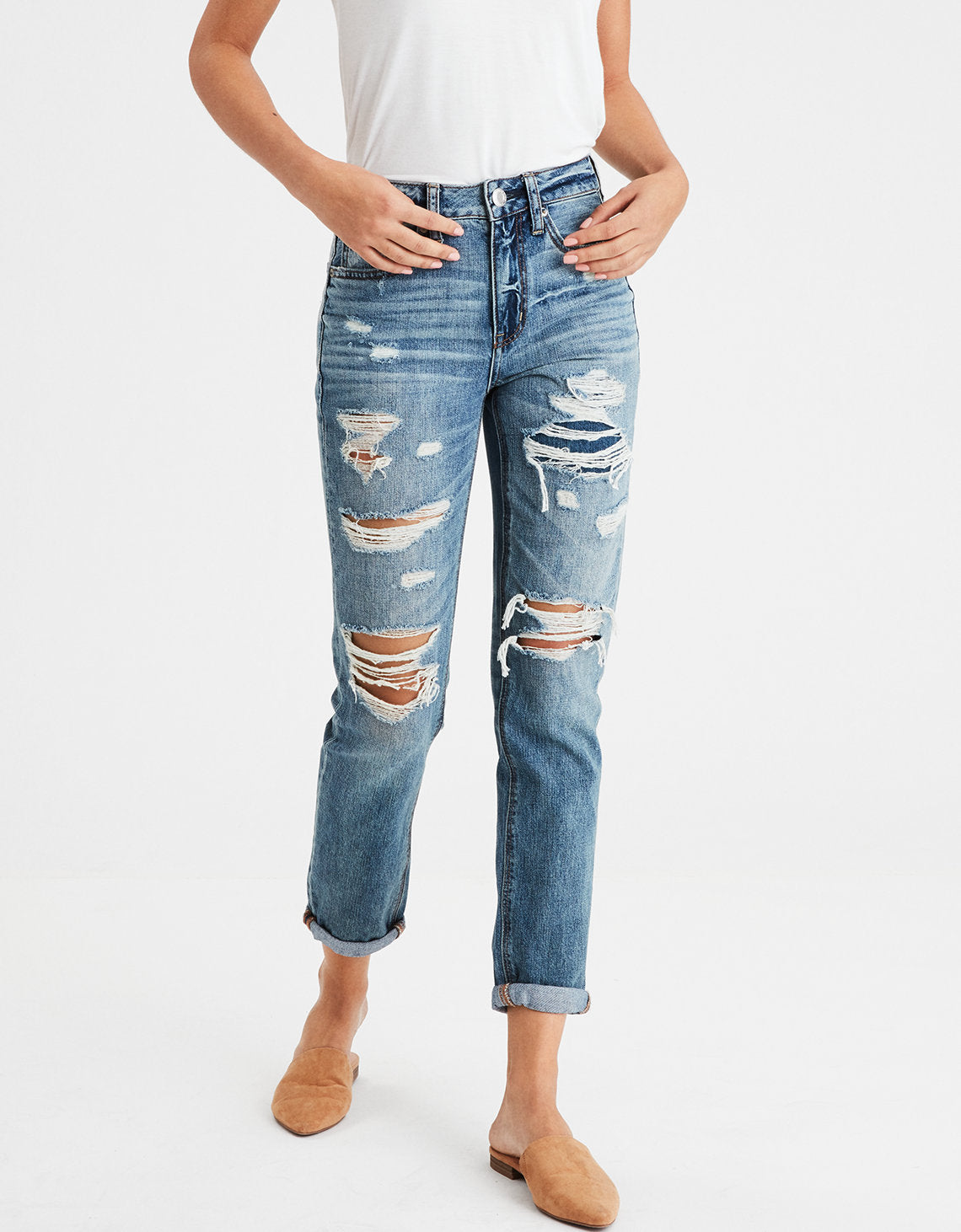 High-Waisted Tomgirl Jean in Shadow Patched Blues