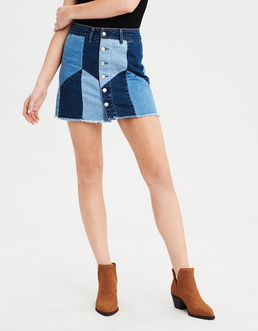 High-Waisted Festival Denim Skirt in Officer Black