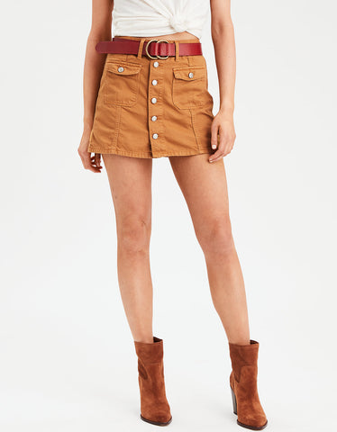 AE High-Waisted Festival Denim Skirt in Mustard