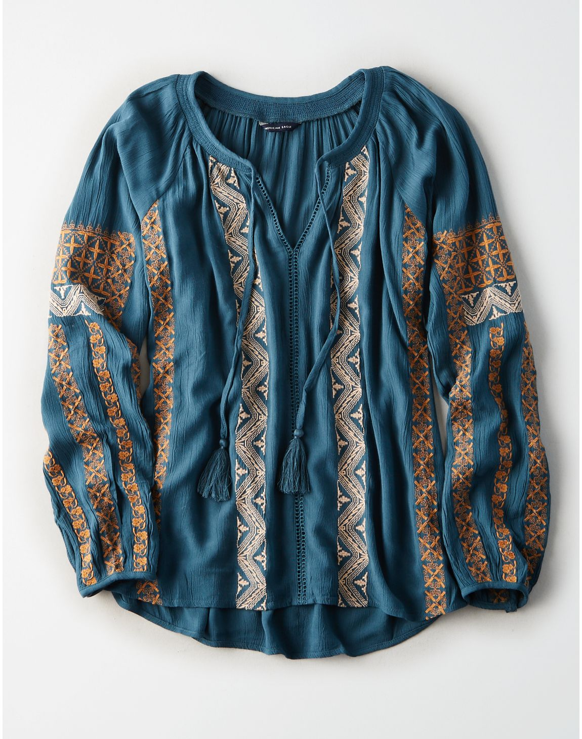 American Eagle | AE Smocked Neck Peasant Top in Teal | American