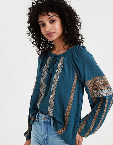AE Smocked Neck Peasant Top in Teal