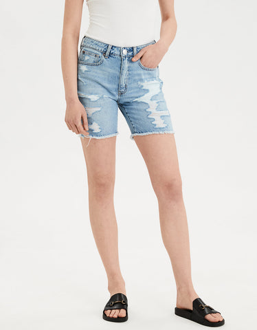 High-Waisted Tomgirl Bermuda Short  in Blues Spark