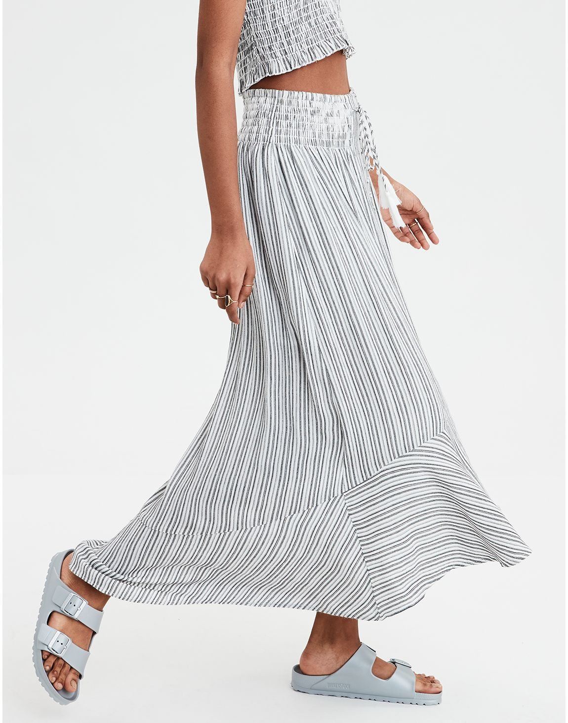 3769a047f9 AE Button Front Midi Skirt, Black | American Eagle Outfitters