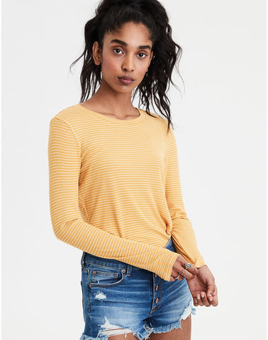 AE Soft & Sexy Long Sleeve Layering T-Shirt in Yellow