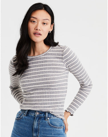 AE Long Sleeve Stripe Ribbed Tee in Gray