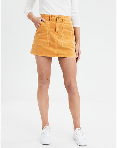 AE High-Waisted A-Line Corduroy Skirt in Mustard