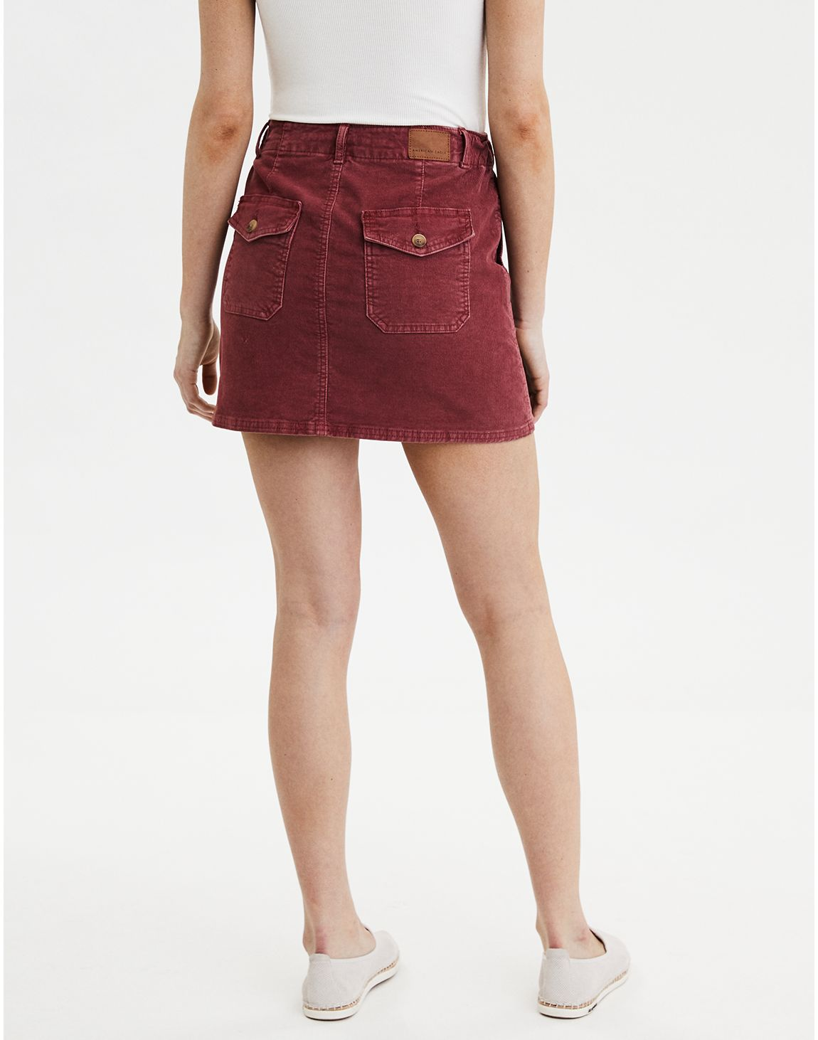 1fbebd2ab American Eagle   AE High-Waisted Corduroy A-Line Skirt in Berry ...