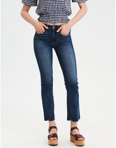 AE Ne(X)t Level High-Waisted Crop Flare Jean in Dark Dreams