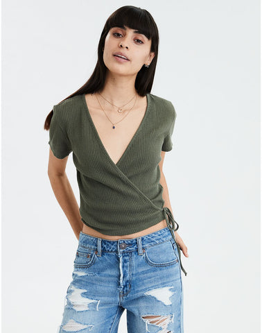 030ae352bb03ca American Eagle AE Wrap Front Tee in Green